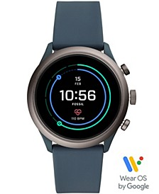 Men's Sport HR Smokey Blue Silicone Strap Smart Watch 43mm, Powered by Wear OS by Google™