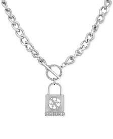 """GUESS Silver-Tone Pavé Padlock 18"""" Pendant Necklace"""