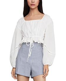 BCBGMAXAZRIA Balloon-Sleeve Crop Top