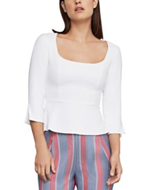BCBGMAXAZRIA Split-Back Peplum Top