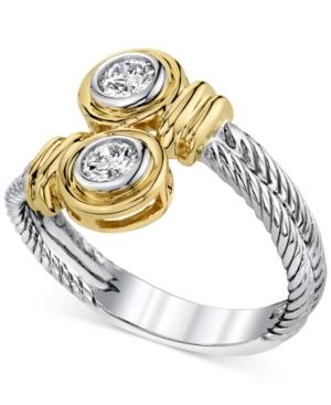 14k Two-Tone Gold Diamond Twist Ring (1/3 ct. t.w.)