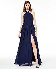 Juniors' Side-Slit Gown