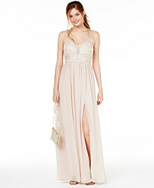 Juniors' Metallic Lace Chiffon Gown