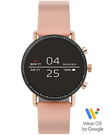 Skagen Women's Falster 2 Blush Silicone Strap Touchscreen Smart Watch 40mm, Powered by Wear OS by Google™