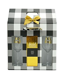 TMD Holdings Cheers Black Buffalo Plaid Hostess Set with 2 Wine Glasses with Gold Wine Opener