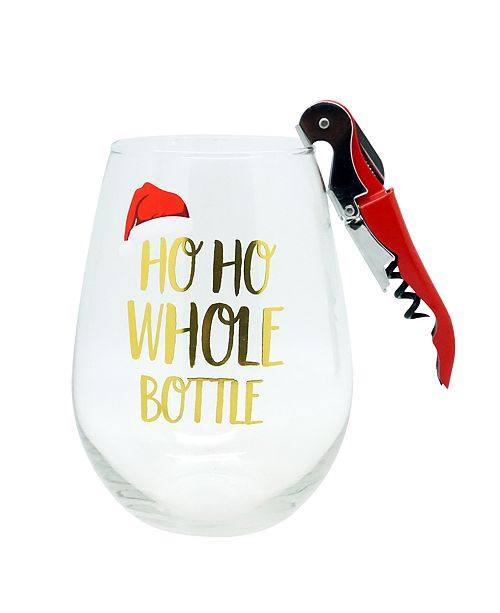"""TMD Holdings CLOSEOUT! """"HO HO Whole Bottle of Wine"""" 30oz Stemless Glass with Red Wine Opener"""