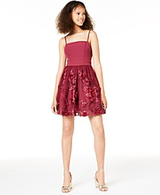 Juniors' 3D Petals Fit & Flare Dress