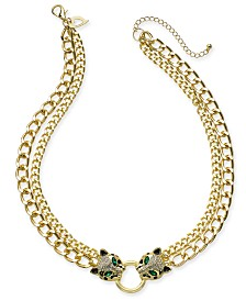 "Thalia Sodi Gold-Tone Crystal Leopard Head Double-Chain Necklace, 18"" + 3"" extender, Created for Macy's"