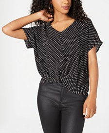 BCX Juniors' Printed Twist-Front Top