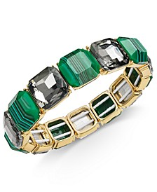 INC Gold-Tone Patterned Stone & Crystal Stretch Bracelet, Created for Macy's