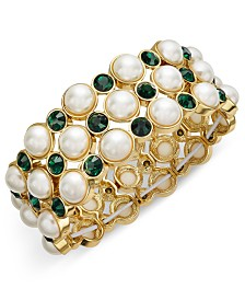 I.N.C. Gold-Tone Imitation Pearl & Green Stone Stretch Bracelet, Created for Macy's
