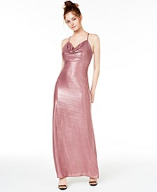 Juniors' Metallic Cowlneck Gown