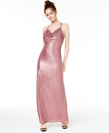 Morgan & Company Juniors' Metallic Cowlneck Gown