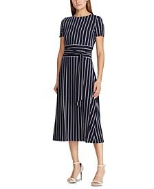 Stripe-Print Belted Jersey Dress