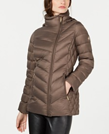 Michael Michael Kors Petite Hooded Packable Down Puffer Coat, Created for Macy's