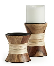 Lucky Brand Wood Pillar Holders, Set of 2