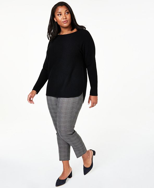 Charter Club Plus Size Cashmere Shirttail Sweater, Created for Macy's