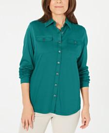 Karen Scott Mixed-Media Button-Front Top, Created for Macy's