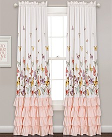 "Flutter Butterfly Ruffle 52"" x 84"" Curtain Set"
