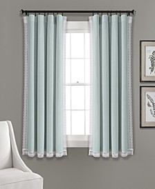"Rosalie 54"" x 63"" Lace Trim Curtain Set"