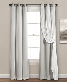 "Solid and Sheer Layered 120""x38"" Blackout Curtain Set"