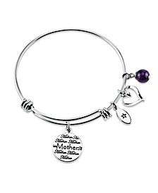 """Mother Daughter Friends"" Adjustable Bangle Bracelet in Stainless Steel"