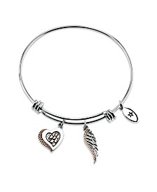 "Unwritten ""I Loe You to Heaven and Back""  Heart and Wing Adjustable Bangle Bracelet in Two-Tone Stainless Steel"