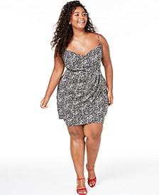 Trendy Plus Size Animal-Print Faux-Wrap Dress
