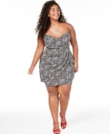 Teeze Me Trendy Plus Size Animal-Print Faux-Wrap Dress