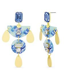 Women's Blue Rhinestone Geo Shaped Drop Earrings