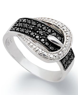 Victoria Townsend Black Diamond (1/4 ct. t.w.) and Diamond Accent Buckle Ring in Sterling Silver