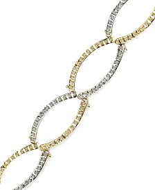 14k Gold and White Gold Bracelet, Diamond Accent Oval Link Bracelet