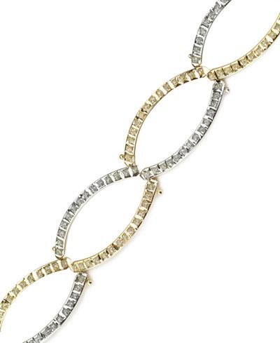 14k Gold and White Gold Bracelet, Diamond Accent Oval Link Bracelet