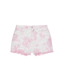 Bebe Girls Tie Dye Shorts With Clear Sequins