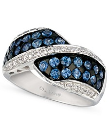 Ceylon Sapphire (1-1/3 ct. t.w.) and Diamond (1/4 ct. t.w.) Ring in 14k White Gold