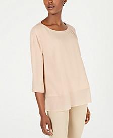 Silk Chiffon-Hem 3/4-Sleeve Top
