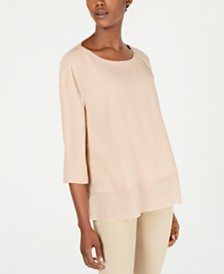 Eileen Fisher Silk Chiffon-Hem 3/4-Sleeve Top