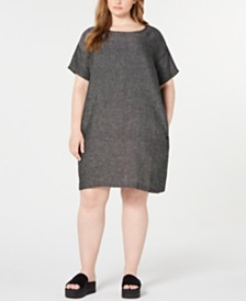 Eileen Fisher Plus Size Organic Linen Shift Dress