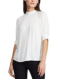 Petite Lace-Trim Mock-Neck Jersey Top