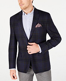 Men's Classic-Fit UltraFlex Stretch Blue/Brown Windowpane Plaid Sport Coat