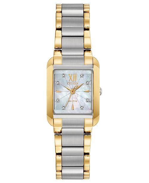 Citizen Eco-Drive Women's Bianca Diamond-Accent Two-Tone Stainless Steel Bracelet Watch 22mm
