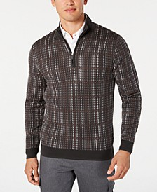 Men's Plaid 1/4-Zip Supima Cotton Sweater, Created for Macy's