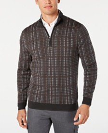 Tasso Elba Men's Plaid 1/4-Zip Supima Cotton Sweater, Created for Macy's