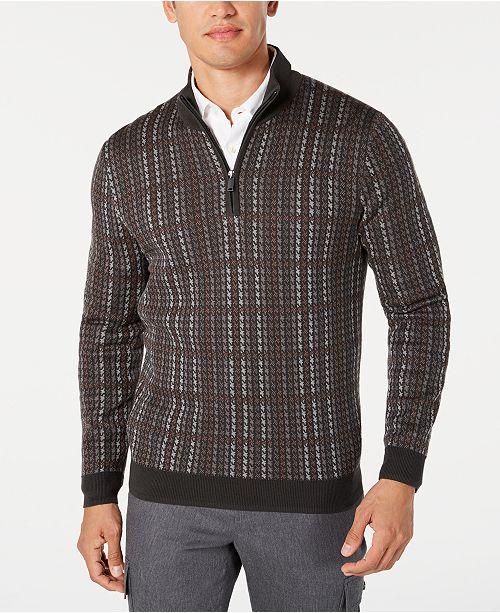 Tasso Elba Men's Plaid 1/4-Zip Supima Cotton Sweater, Created for Macy's
