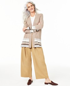 Charter Club Striped Cashmere Cardigan, Created for Macy's