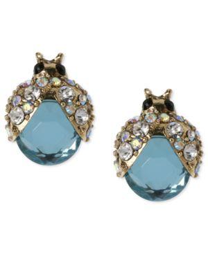 GOLD-TONE BLUE GLASS CRYSTAL BUG STUD EARRINGS