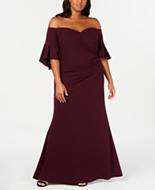 Calvin Klein Plus Size Off-The-Shoulder Gown