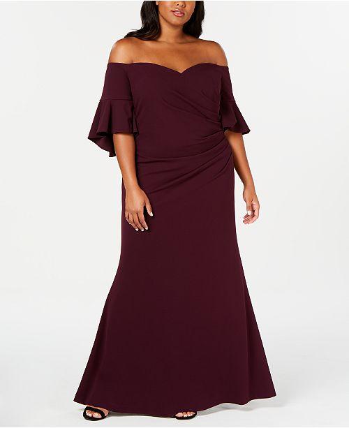 Calvin Klein Plus Size Off-The-Shoulder Gown