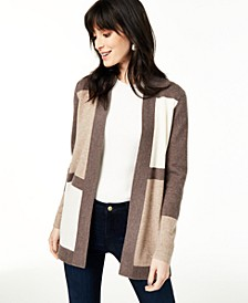Colorblocked Pure Cashmere Cardigan, Regular & Petite Sizes, Created For Macy's
