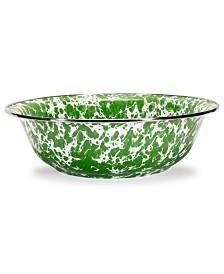 Golden Rabbit Green Swirl Enamelware Collection 4 Quart Serving Bowl